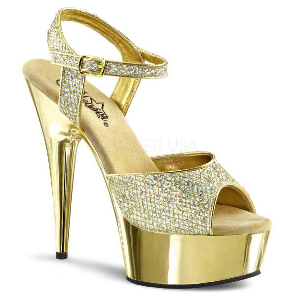 Multi Glitter Riemchen Sandalette gold mit Chrom-Plateau DELIGHT-609G